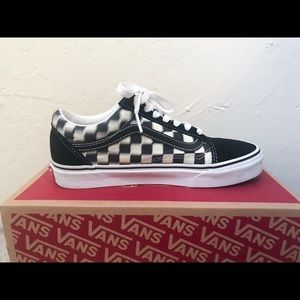 vans old skool blur black&white checkerboard shoe